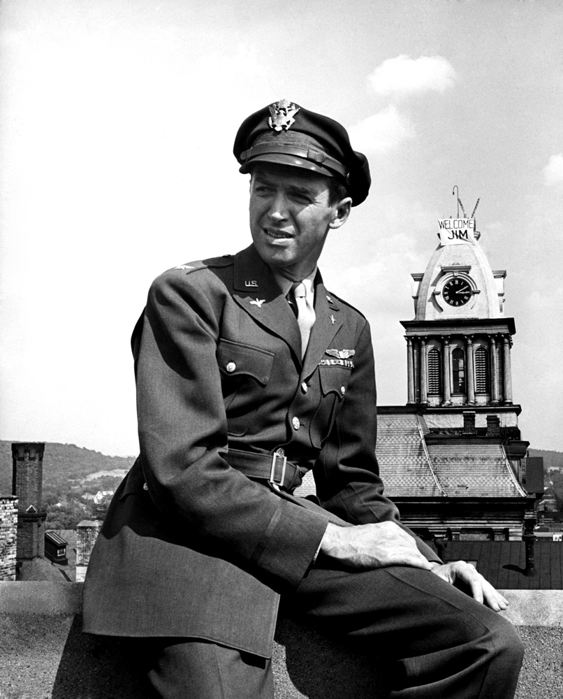 Decorated veteran James Stewart, home from the war, 1945.