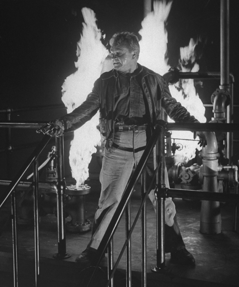 James Cagney in the iconic, climactic scene scene from 'White Heat.'
