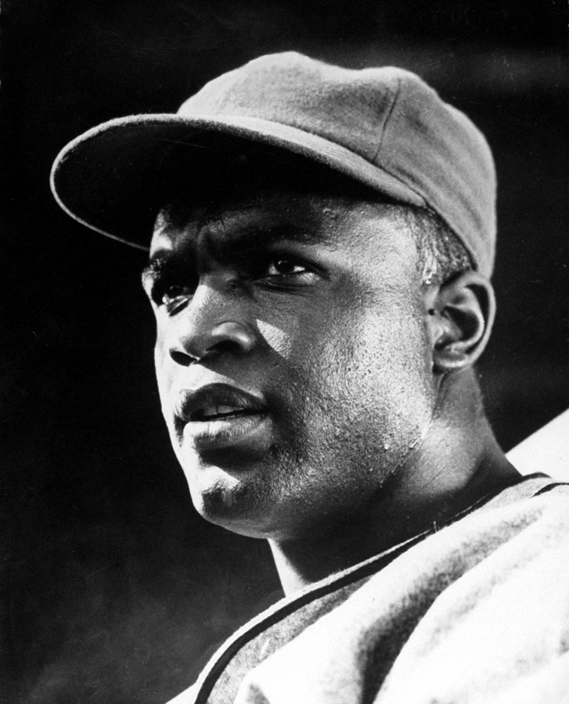 Jackie Robinson during filming of his own biopic in 1950.