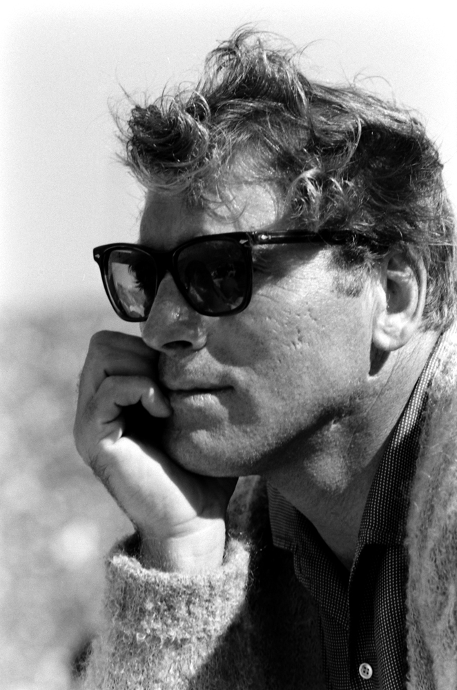 Burt Lancaster at Dodger Stadium during Game 3 of the 1959 World Series in Los Angeles.