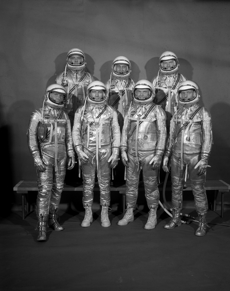Project Mercury astronauts at Langley Air Force Base, Virginia: (top, left to right) Alan Shepard, Gus Grissom, Gordon Cooper; (bottom left to right) Wally Schirra, Deke Slayton, John Glenn and Scott Carpenter, 1959.