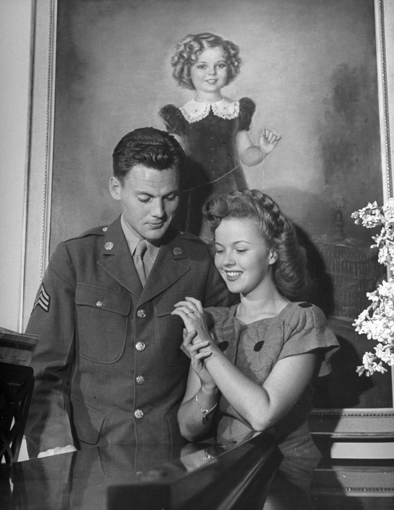 Shirley Temple with Sgt. John Agar, to whom she was married from 1945-1950.