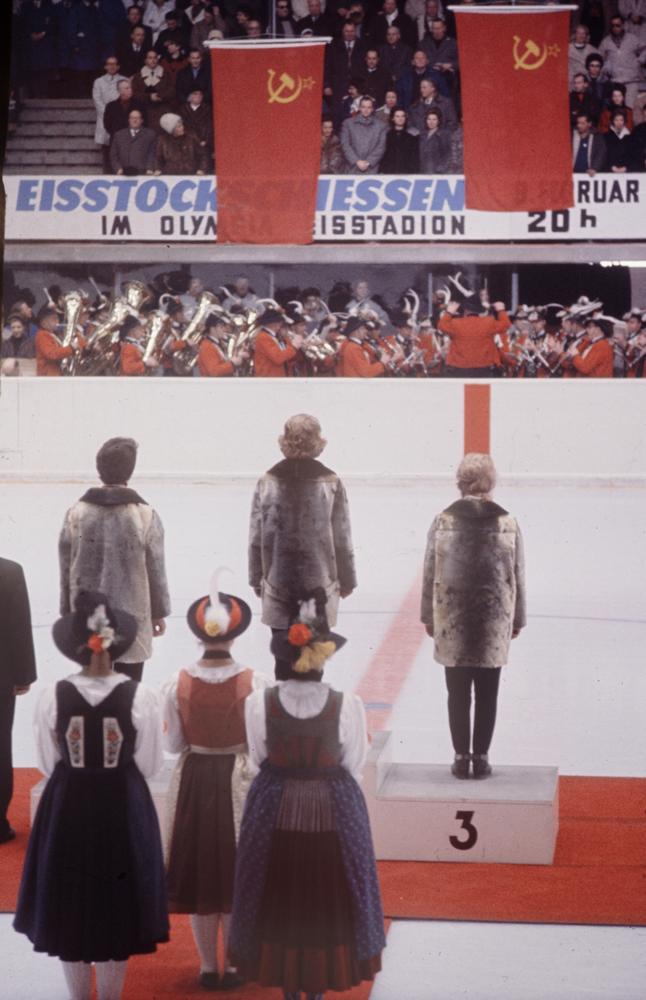 Medal ceremony, 1964 Innsbruck Winter Olympics.