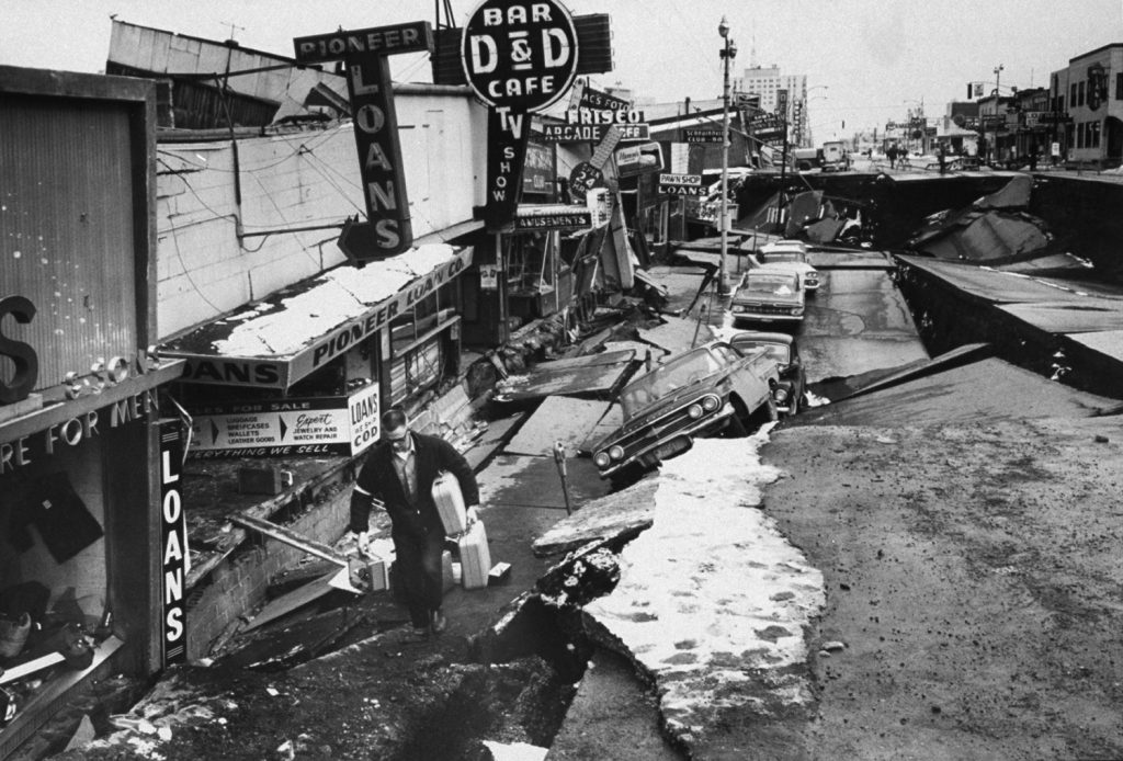 Anchorage, Alaska, in the aftermath of the 1964 Good Friday Earthquake.