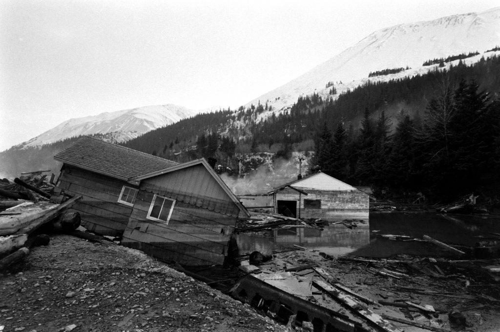 Aftermath of the 1964 Good Friday Earthquake, Alaska.