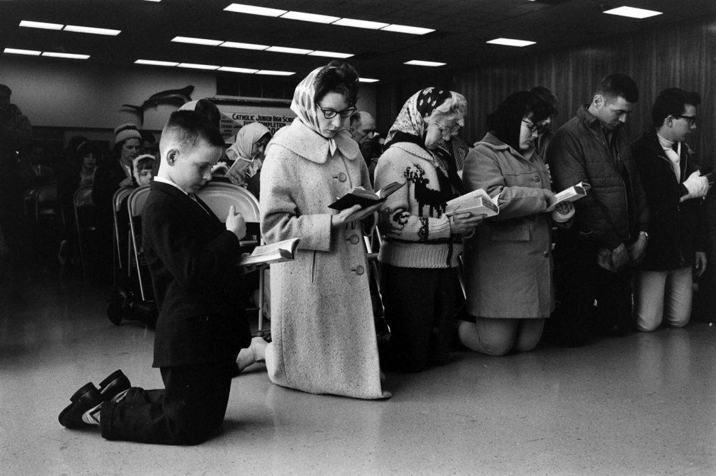 Alaskans pray after the 1964 Good Friday Earthquake.