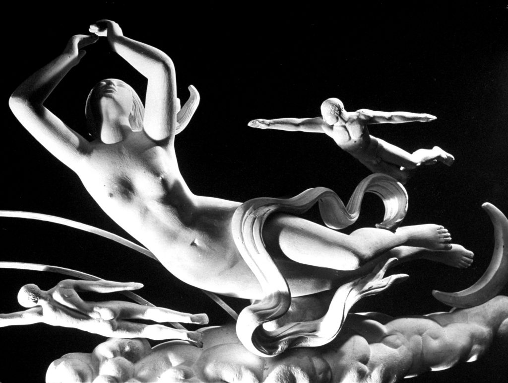 Models of the sculpture 'Night' by artist Paul Manship, created for the 1939-1940 World's Fair.
