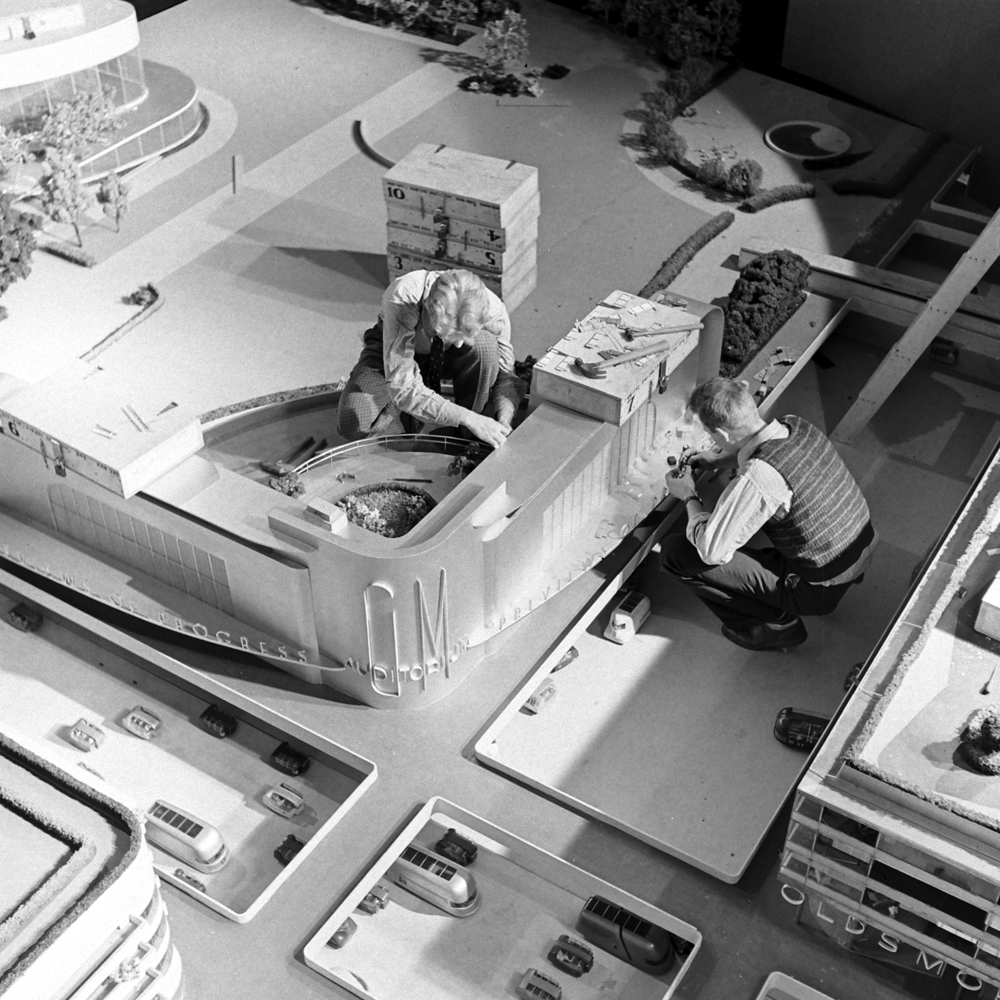 "Working on General Motors' ""Futurama"" exhibit -- the city of the near future -- at the 1939 World's Fair."