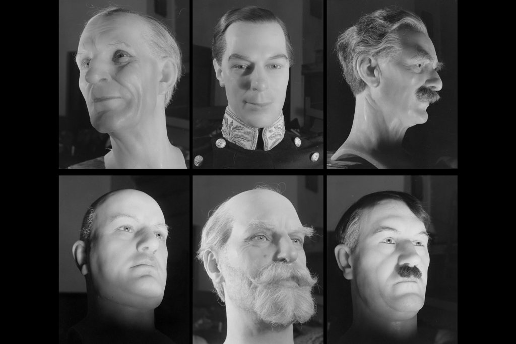 Waxworks on display at the 1939 World's Fair, including Supreme Court Chief Justice Charles Evans Hughes (bottom middle) and Adolf Hitler.