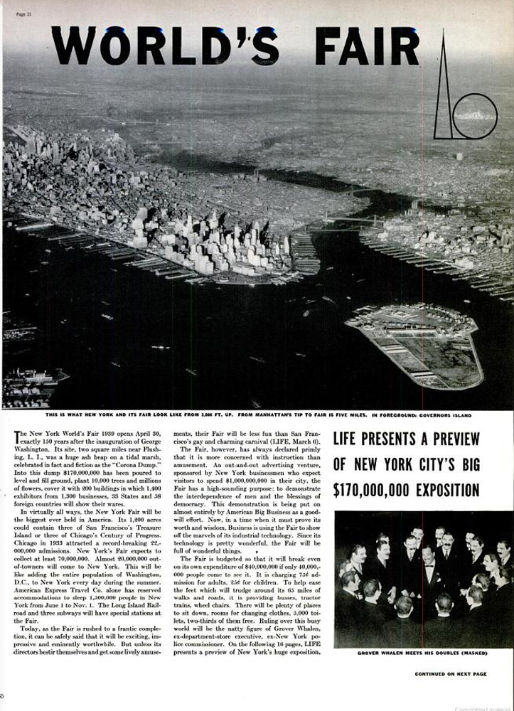 LIFE magazine feature on the 1939 New York World's Fair.