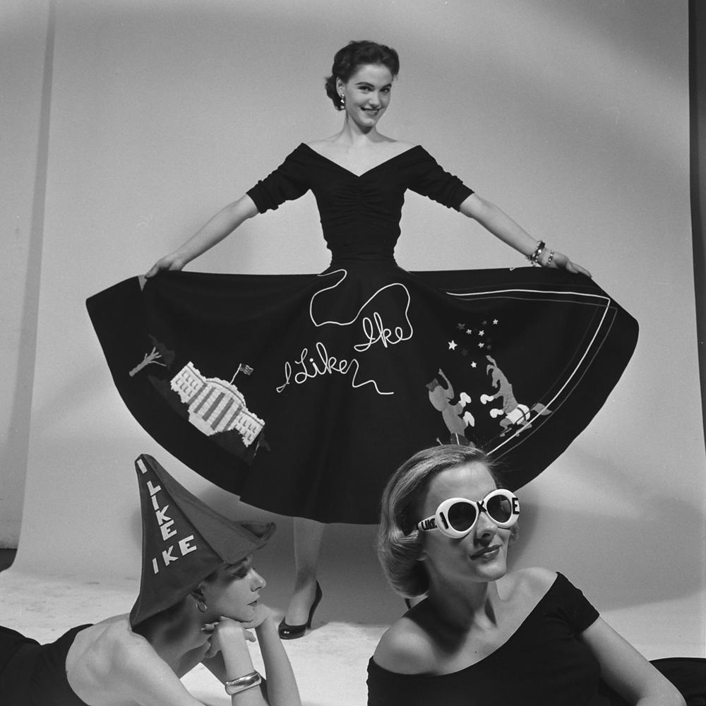 Political fashion statement, 'I Like Ike,' 1952.