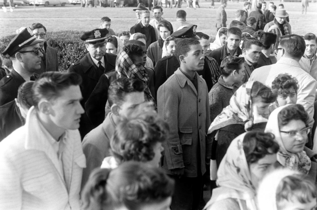 Desegregation of Norfolk, Va., public school, 1959. Students: Olivia Driver, Freddy Gonsouland.
