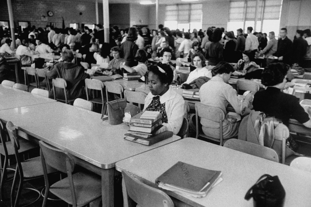 Patricia Godbolt eats lunch alone, Norview High School, Norfolk, Va., 1959.