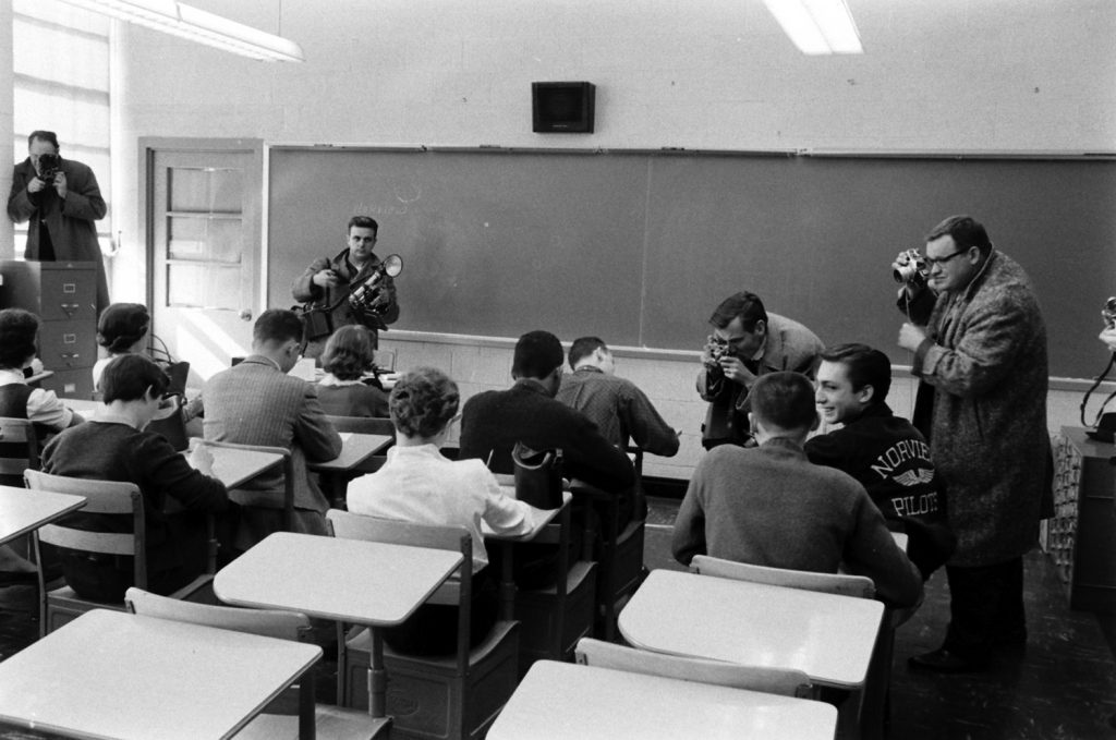 Journalists covering desegregation of Norfolk schools, 1959.