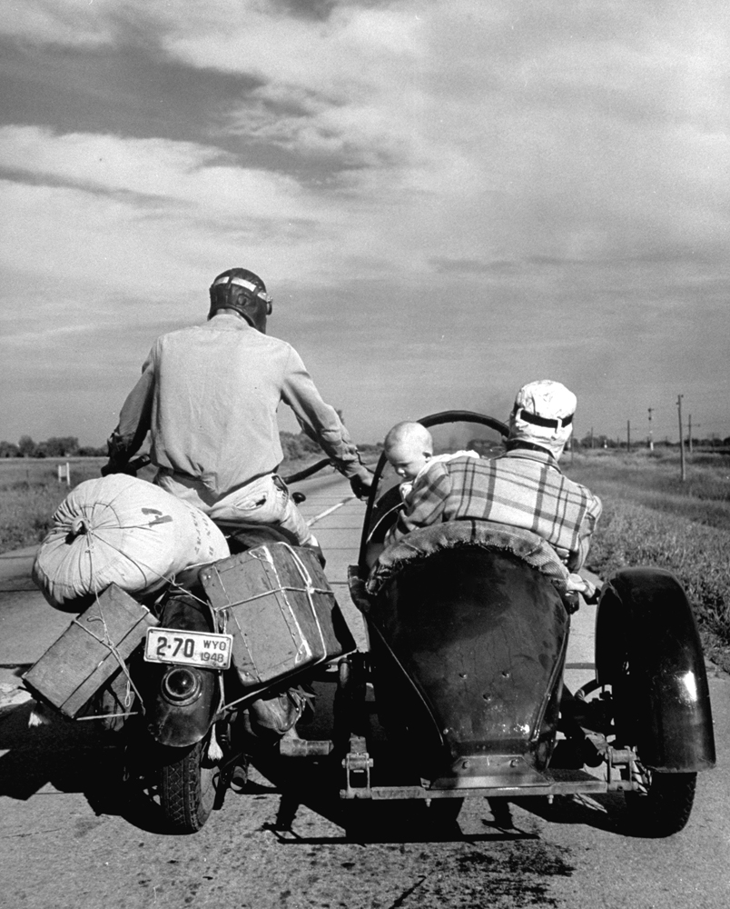 A couple and their five-month-old daughter head back home to Cheyenne, Wyo., after a visit to Omaha, Neb., 1948.
