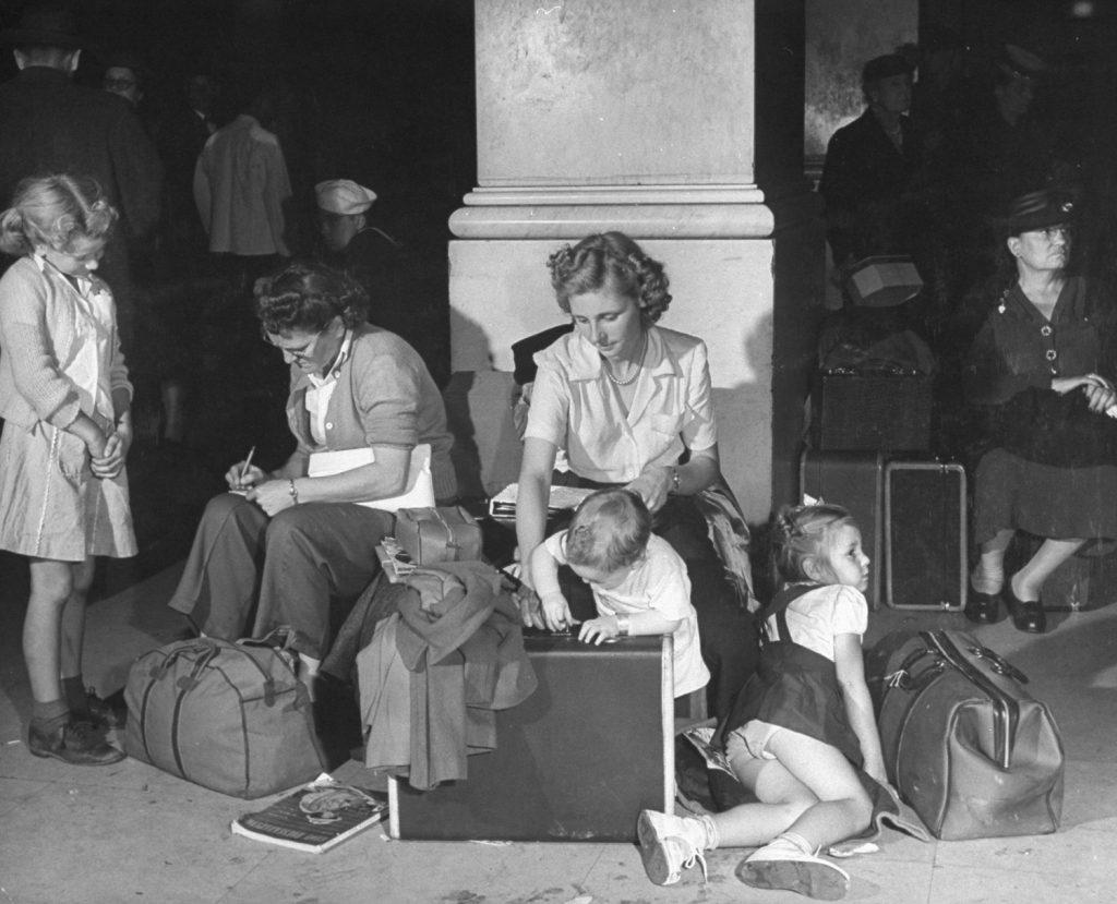 Stranded during a railroad strike, Chicago, 1946.