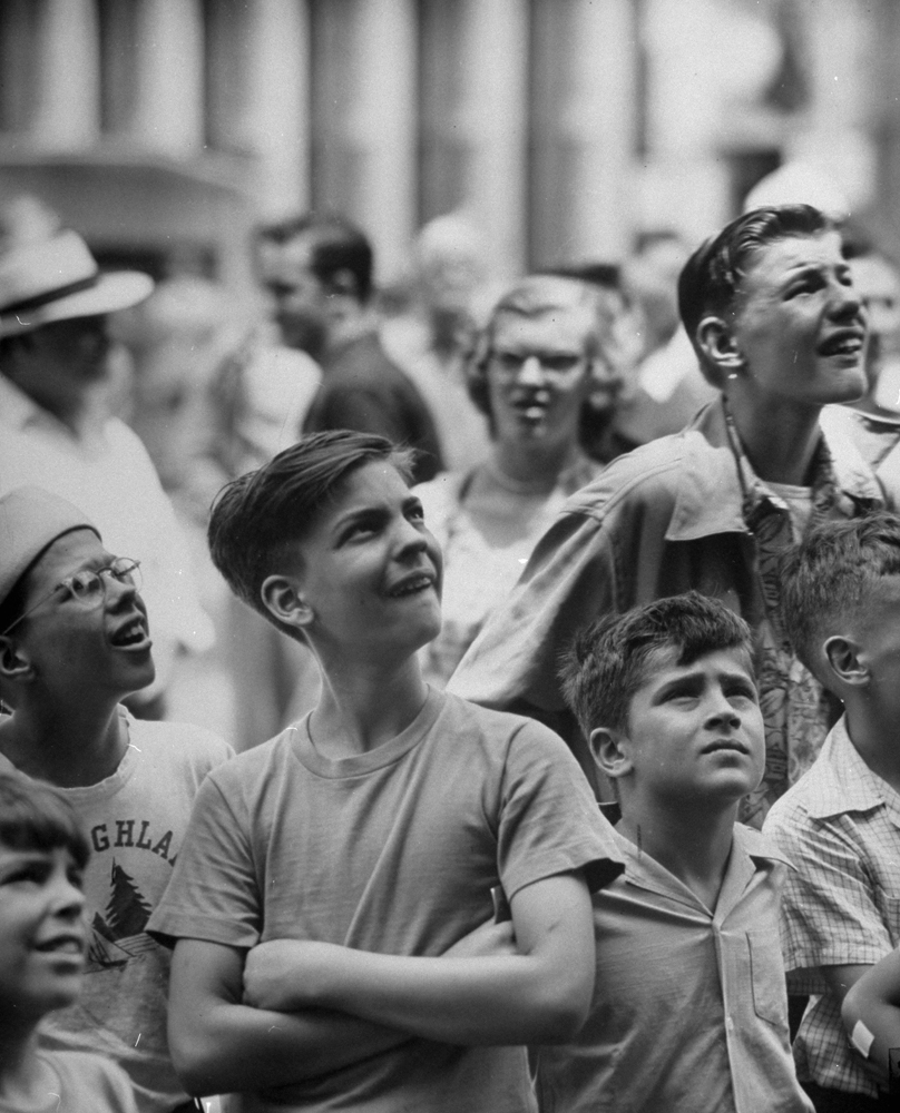Children watch a giant animated figure of Paul Bunyan, Chicago, 1949.