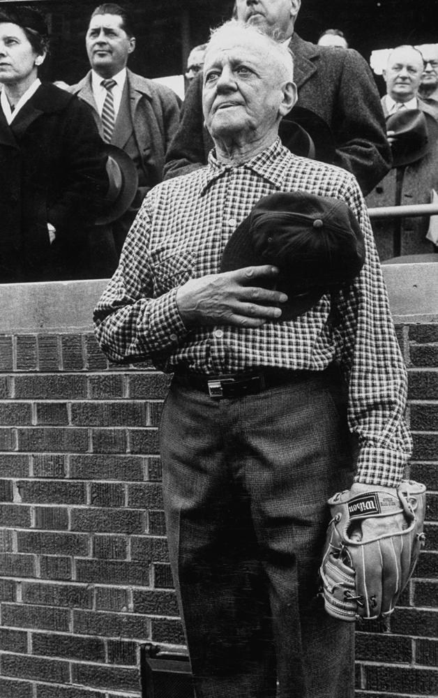 Bill Klose, Cub fan who threw out first ball of season, 1957.