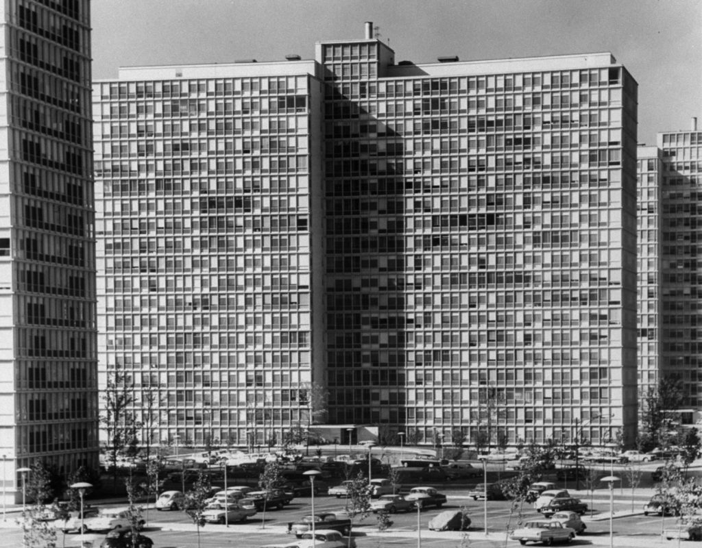 Mies van der Rohe buildings, Chicago, 1961.