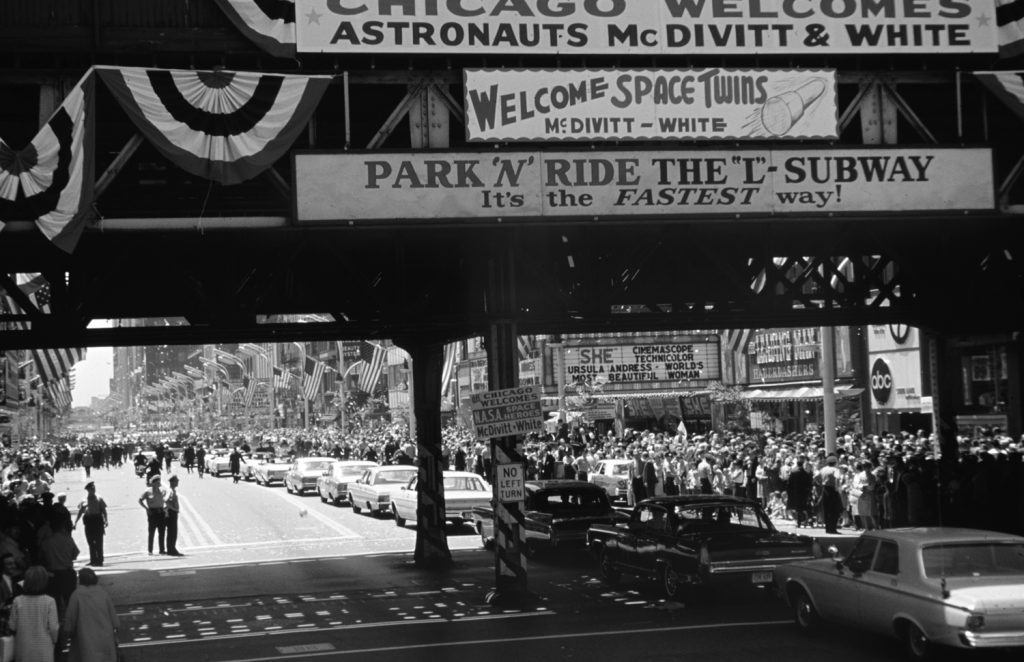 Chicago welcomes astronauts James McDivitt and Ed White, 1965.