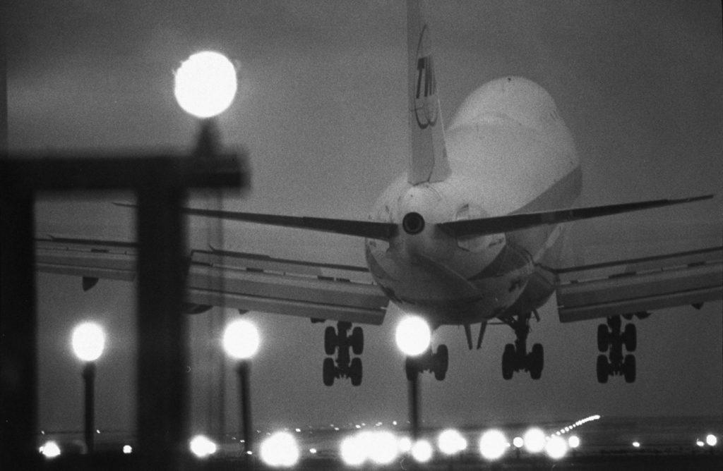 A TWA plane lands at O'Hare, 1970.