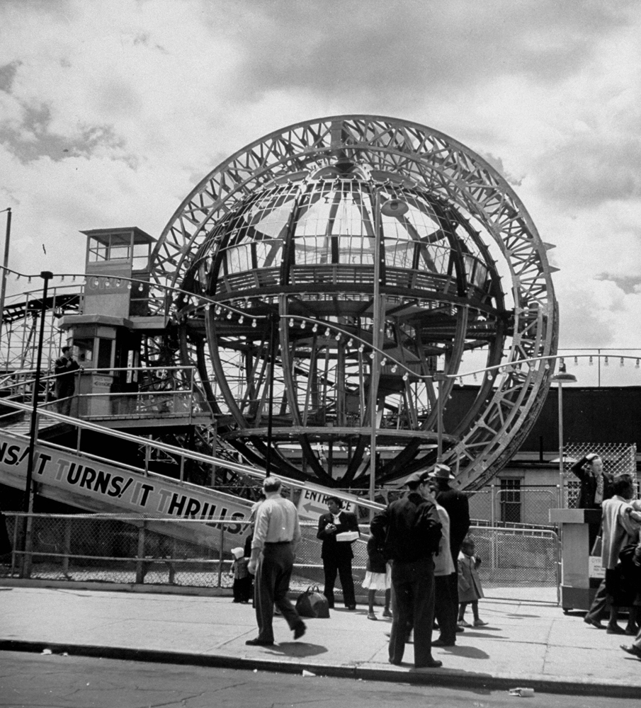 The Gryro Globe ride, a metal monster which simultaneously spun and tilted its victims, Coney Island, 1949.