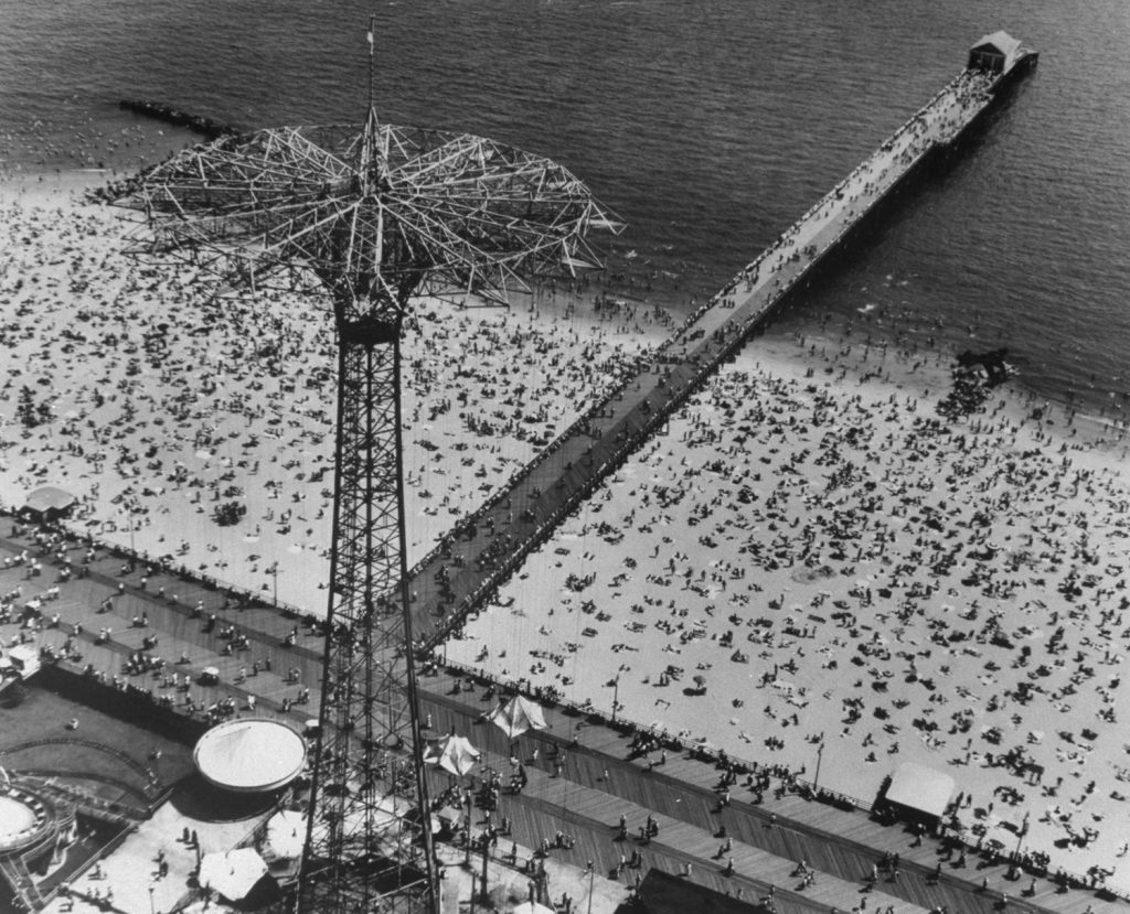The Parachute Jump along the boardwalk at Coney Island, 1951.