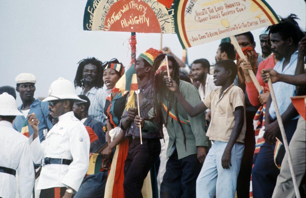 Jamaicans welcome Ethiopian Emperor Haile Selassie, 1966.