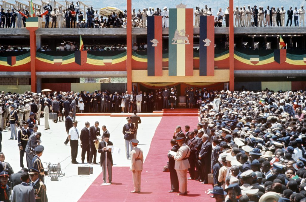 "Haiti's ""Papa Doc"" Duvalier welcomes Emperor of Ethiopia Haile Selassie I to Port-au-Prince during Selassie's historic visit to the Caribbean, April 1966."