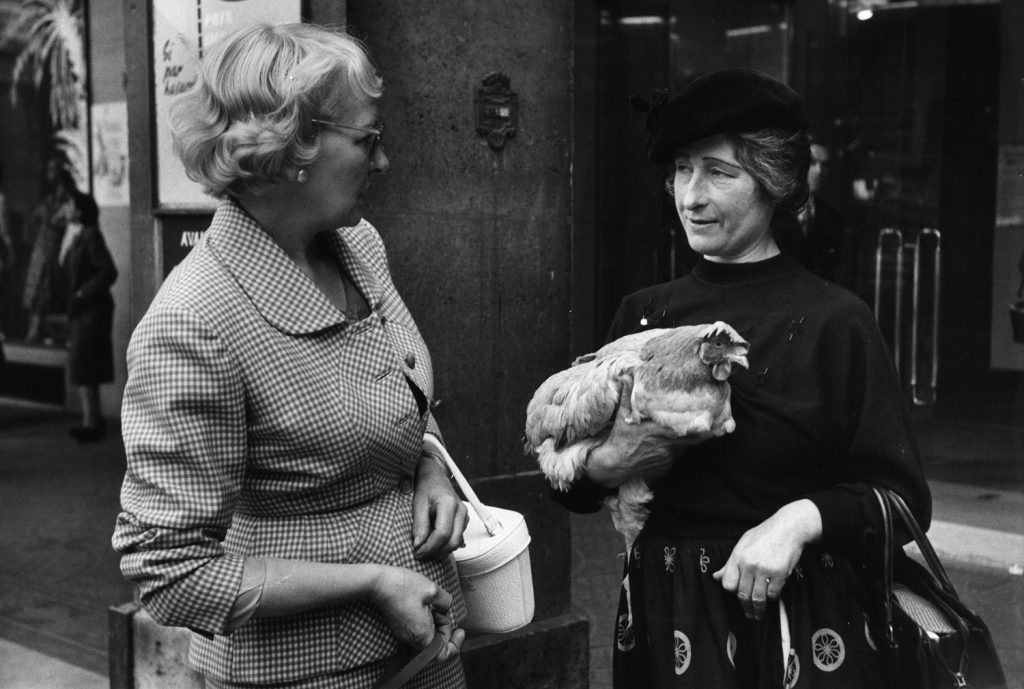 Marguerite (right) and her chicken, Paris, 1956.