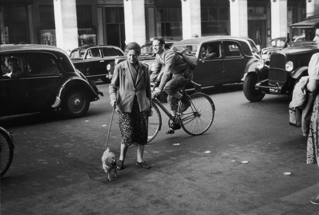 A woman named Marguerite walks a chicken in Paris, 1956.