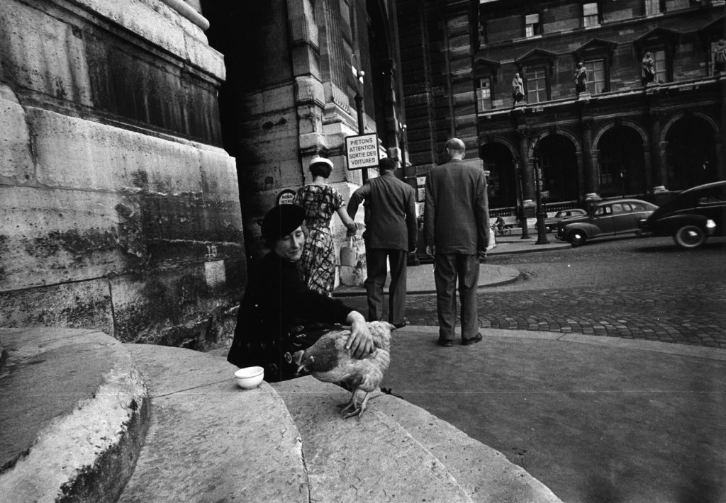 Marguerite and her chicken, Paris, 1956.
