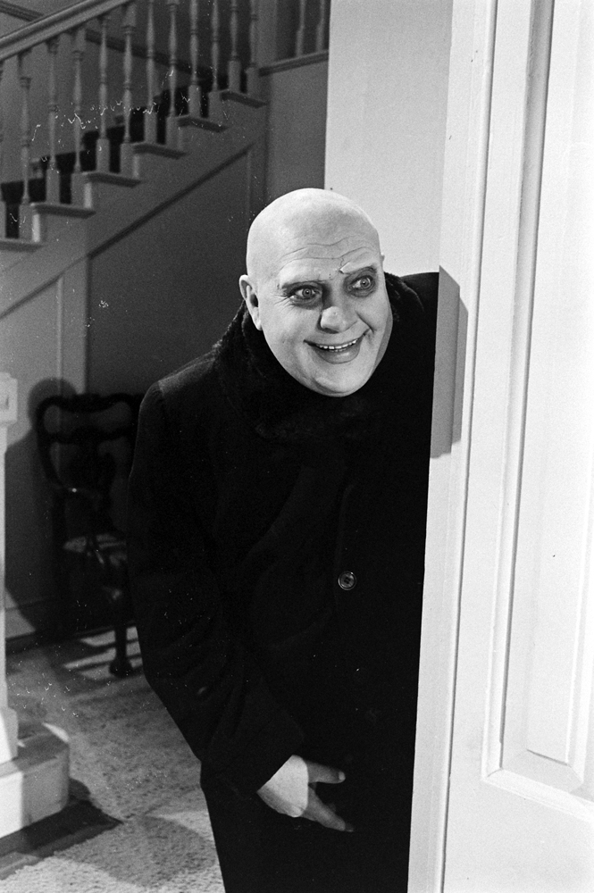 An unidentified actor auditions for the role of Uncle Fester, 1964.