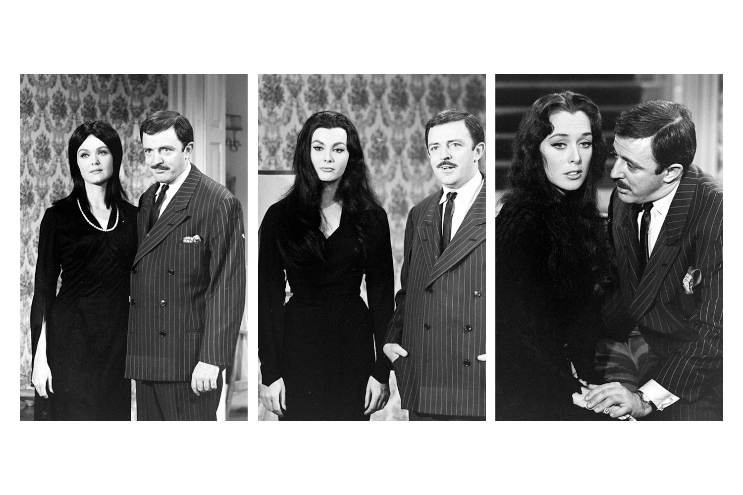 John Astin (Gomez) with various actresses auditioning for the role of Morticia Addams, 1964.