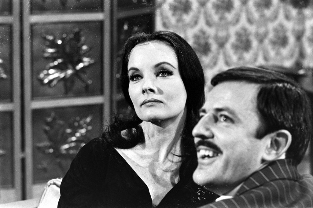 John Astin with an actress auditioning for the role of Morticia Addams, 1964.