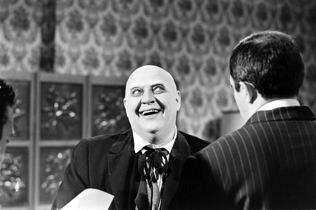 John Astin with an actor auditioning for the role of Uncle Fester, 1964.