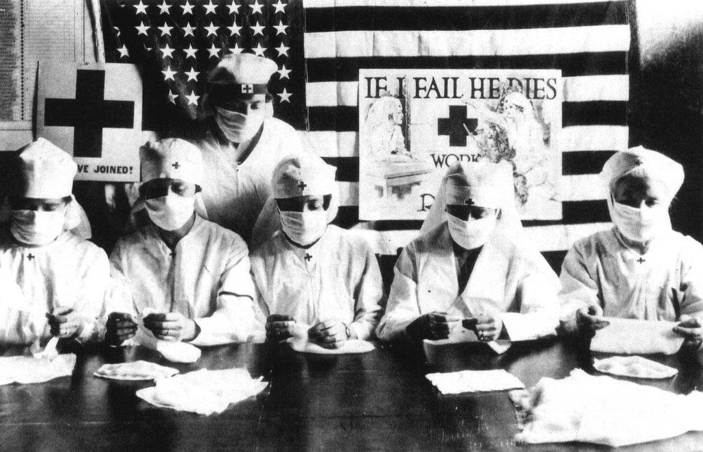 Red Cross volunteers fight the flu pandemic, 1918.