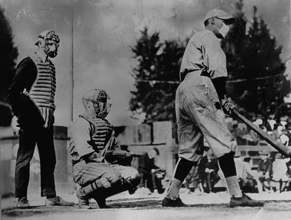 Unidentified baseball players wearing masks which they thought would keep them from getting flu during the influenza epidemic of 1918.