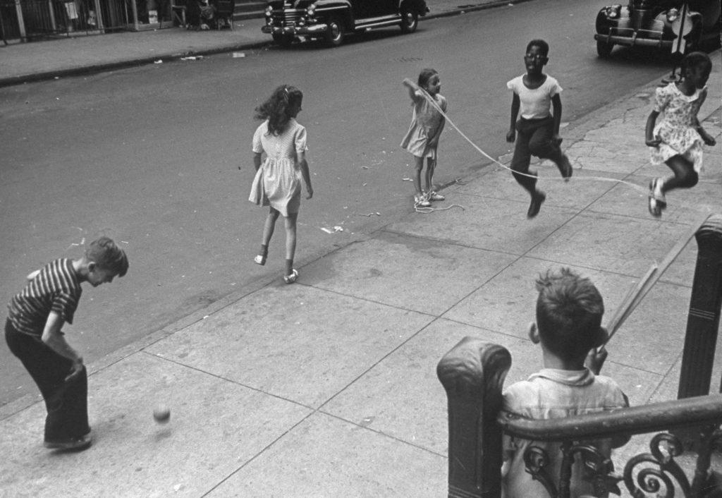 Jumping rope on Siegel Street near Humboldt, Brooklyn, 1946.