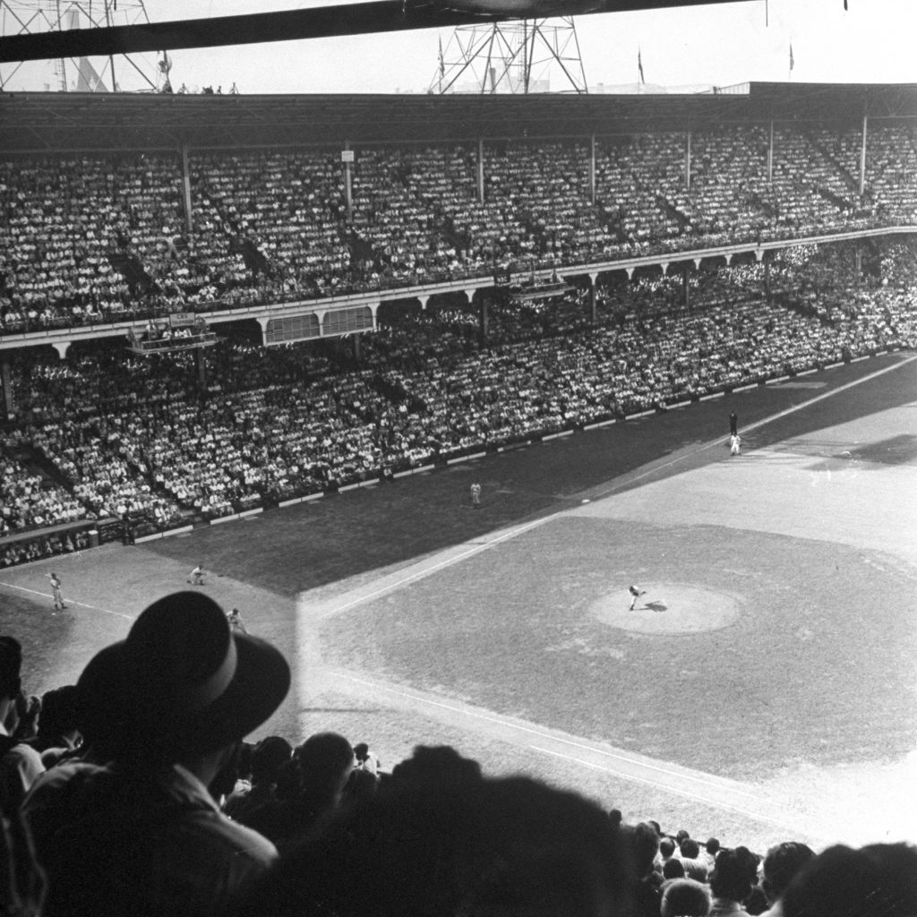 Dodgers ballgame, Ebbets Field, Brooklyn, 1946.