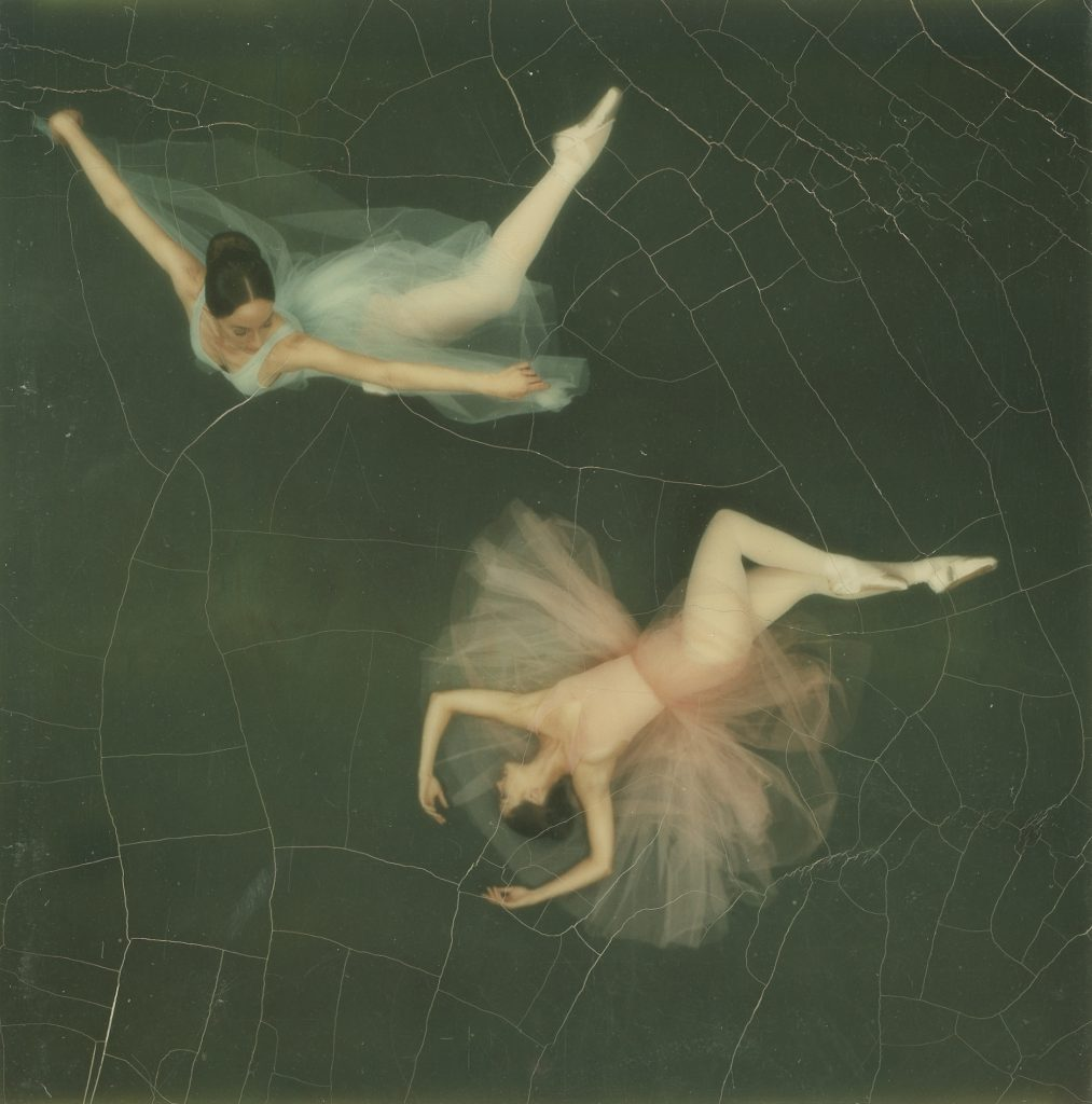 A study in motion featuring two dancers from the Joffrey Ballet, made with a Polaroid SX-70 camera, 1972.
