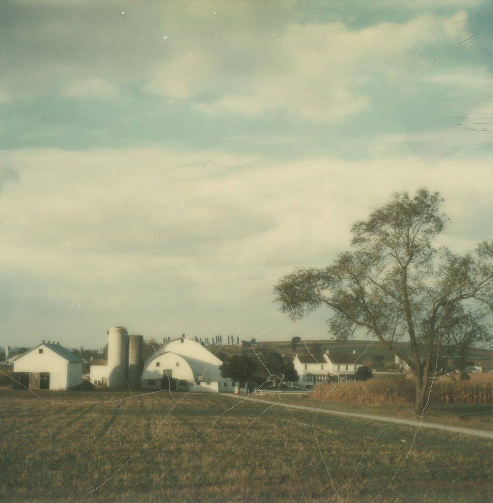 A farm in Pennsylvania photographed with a Polaroid SX-70 camera, 1972.