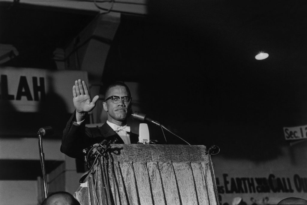 Malcolm X makes a speech at a Nation of Islam rally, Washington D.C., 1961.