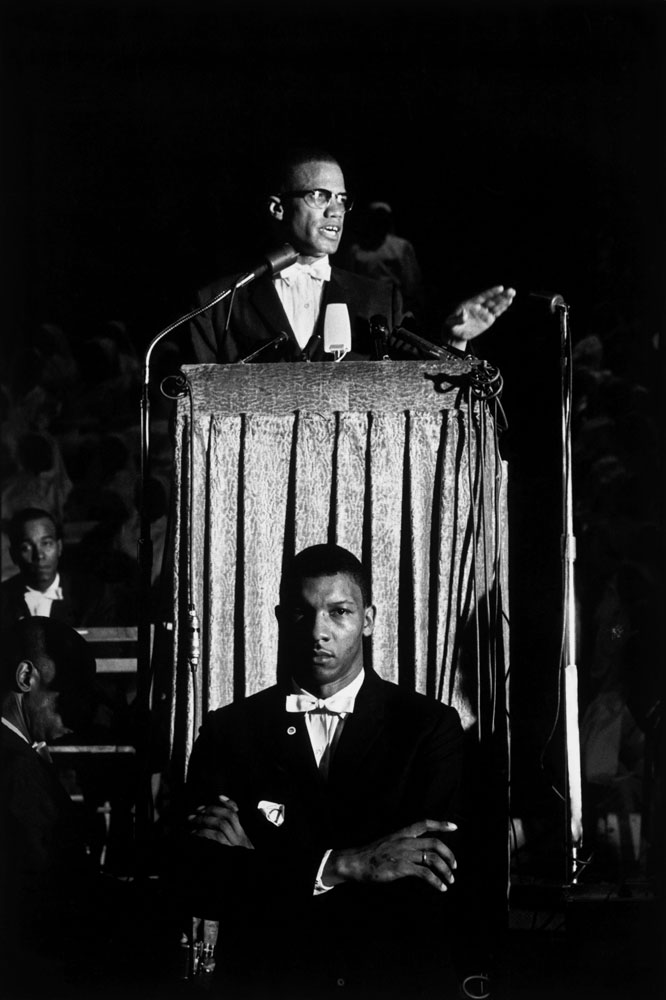 Malcolm X gave a speech at a Nation of Islam rally, Washington, D.C., 1961.