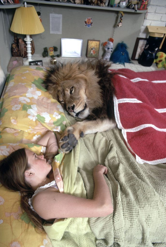 Melanie Griffith in bed with Neil the lion, 1971.