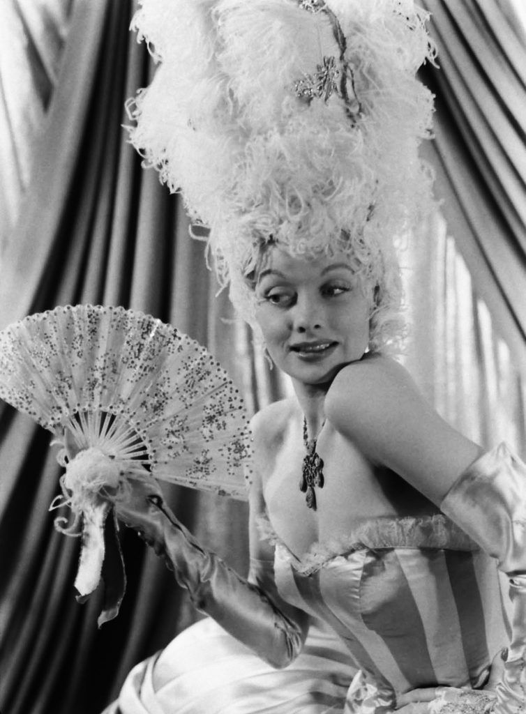 Lucille Ball in costume for the extravagant dream sequence set in 18th-century France at the center of DuBarry Was a Lady, 1943.
