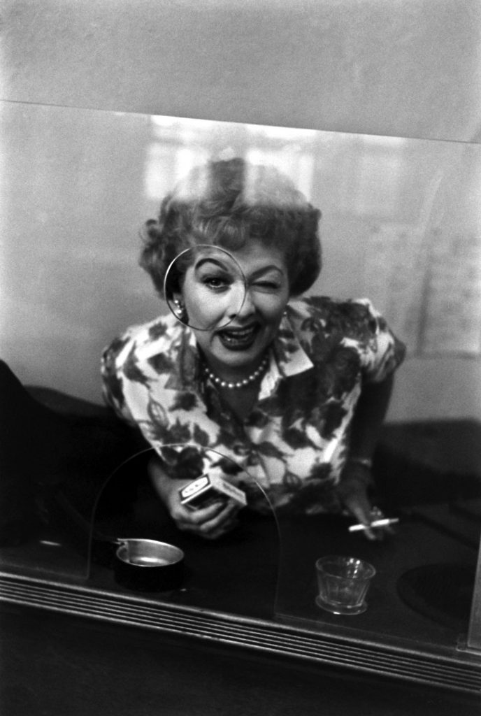 In 1958, on the set of The Lucy-Desi Comedy Hour, a collection of occasional, lavish specials that followed the adventures of the Ricardos and the Mertzes after I Love Lucy -- Lucille Ball does a comedy bit as a wisecracking clerk.