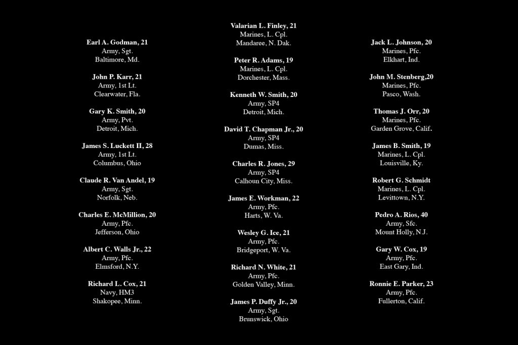 """Above: Twenty-five men, killed in one week in the late spring of 1969, who did not have their pictures in the June 27, 1969, issue of LIFE. Use the """"full screen"""" option (at right) for a clearer view of each man's name, age, rank and hometown."""