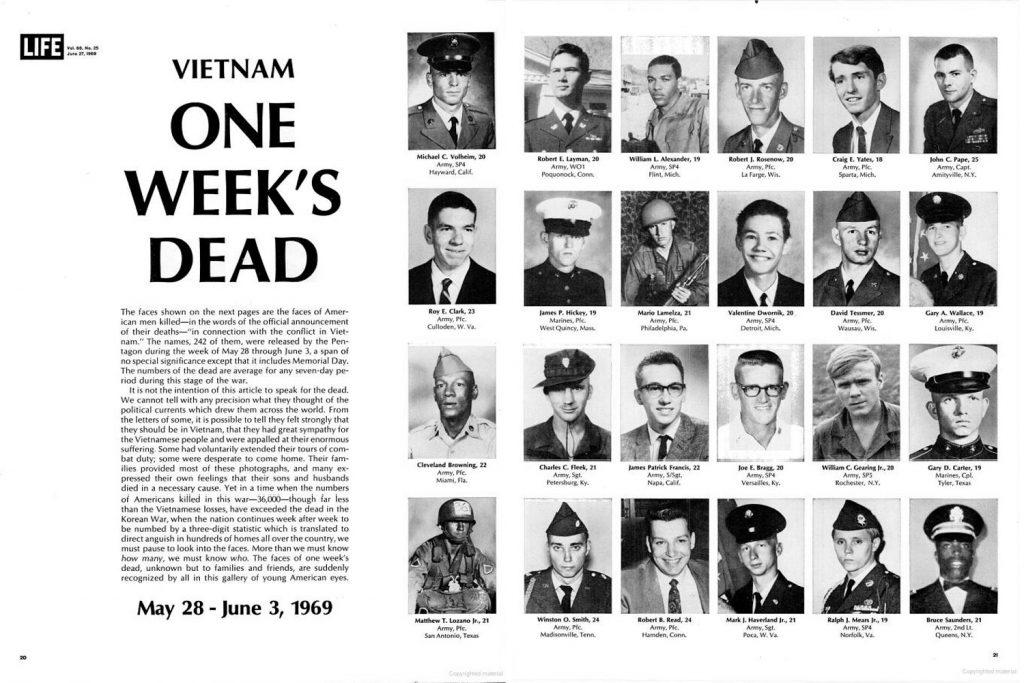"""""""Vietnam: One Week's Dead,"""" LIFE magazine, June 27, 1969."""