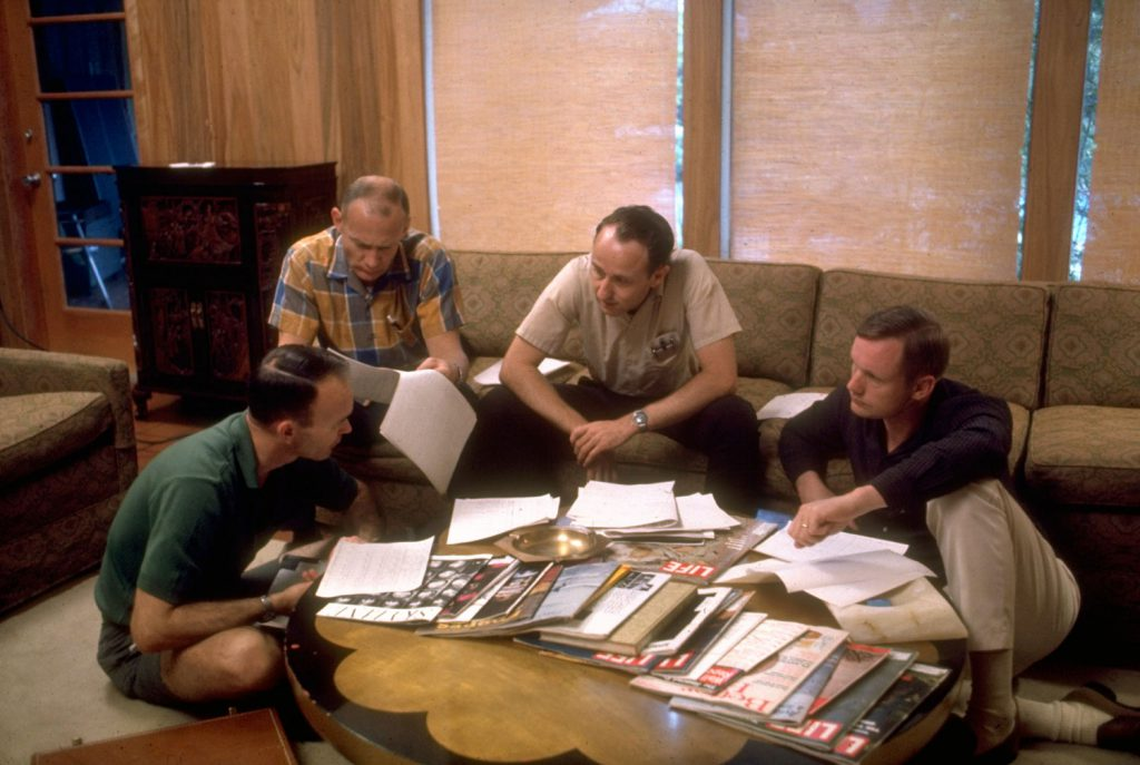 Not published in LIFE. The Apollo 11 astronauts discuss their upcoming moon mission with an engineer from Houston's Mission Control Center (second from right), Texas, 1969.